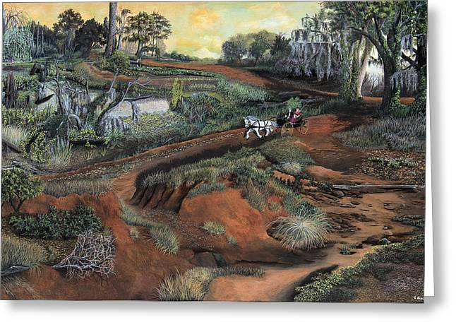 Moss Greeting Cards - Morning Ride in Bayou Country Greeting Card by Guy Hobson
