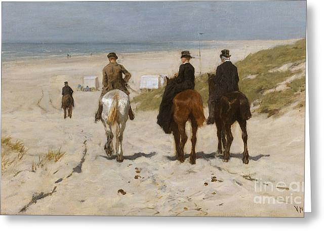 On The Beach Greeting Cards - Morning Ride on the Beach Greeting Card by Anton Mauve