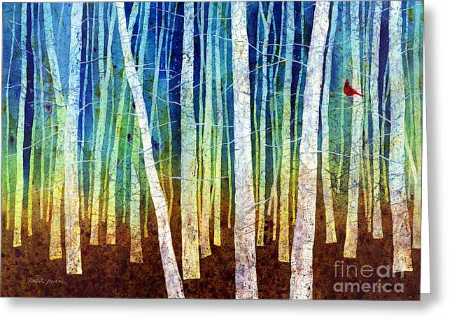 Trees Forest Paintings Greeting Cards - Morning Song I Greeting Card by Hailey E Herrera