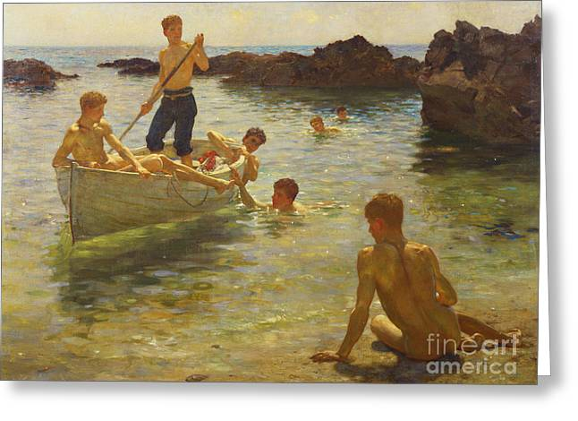 Boats. Water Greeting Cards - Morning Splendour Greeting Card by Henry Scott Tuke