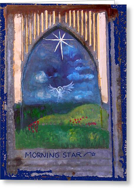 Anne Cameron Cutri Greeting Cards - Morning Star Folk Art Greeting Card by Anne Cameron Cutri