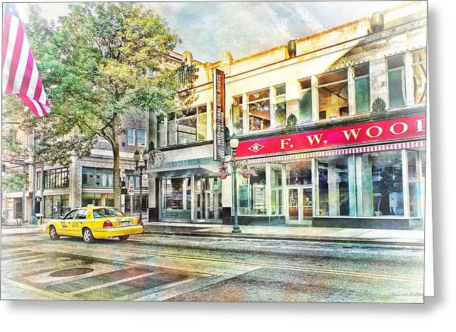 Elm St Greeting Cards - Morning Taxi Downtown Urban Scene Greeting Card by Melissa Bittinger