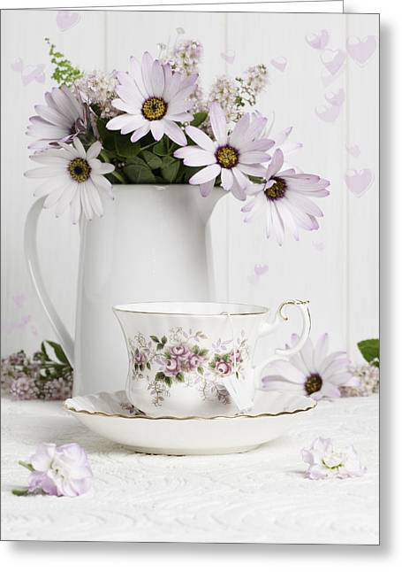 Vintage Teacup Greeting Cards - Morning Tea With Flowers Greeting Card by Amanda And Christopher Elwell