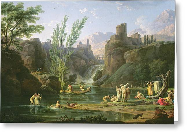 Les Greeting Cards - Morning  The Bathers Greeting Card by Claude Joseph Vernet