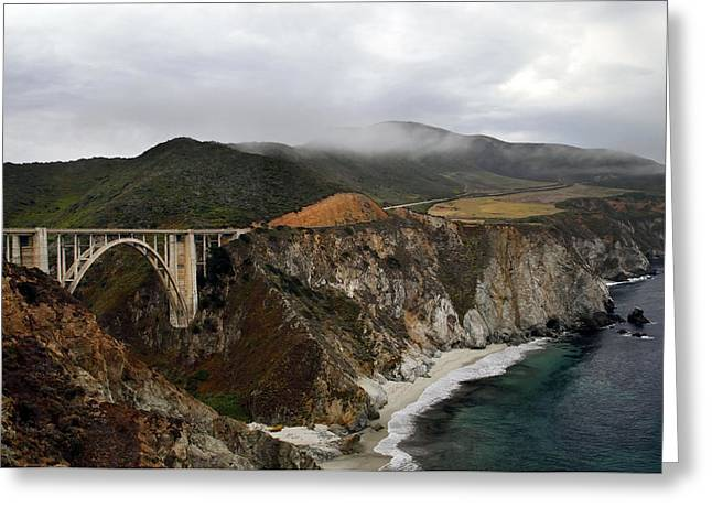Bixby Bridge Greeting Cards - Morning Time Bixby Bridge Greeting Card by Dan Peak