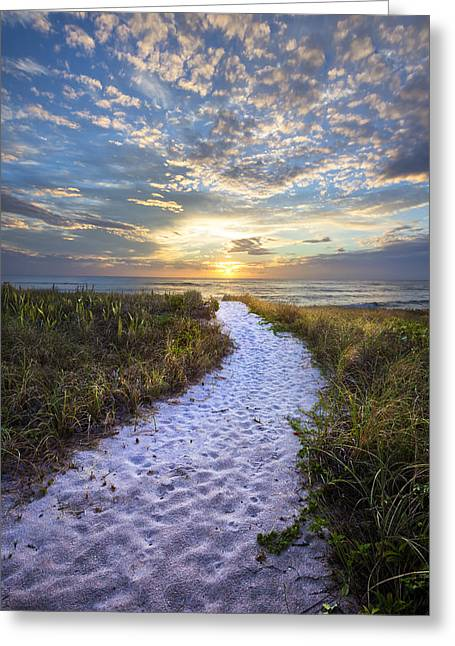 Sanddunes Greeting Cards - Morning Trail Greeting Card by Debra and Dave Vanderlaan