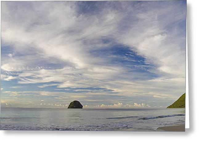 Ocean Panorama Greeting Cards - Morning Tropical Coast Greeting Card by Konstantin Sevostyanov