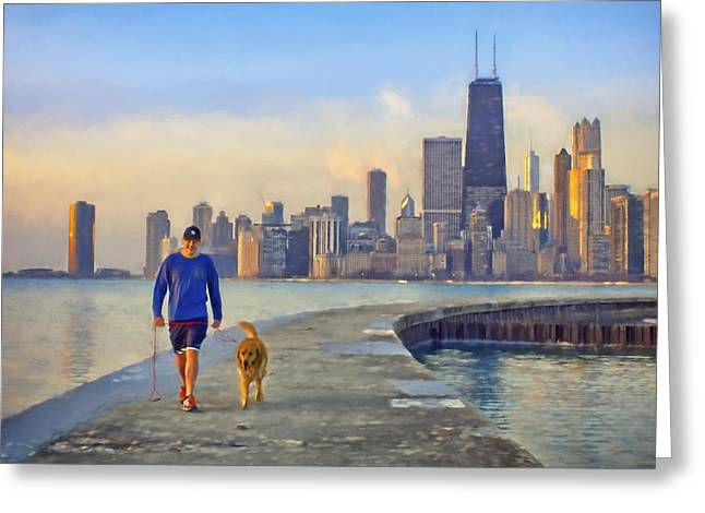 Recently Sold -  - Beach Landscape Greeting Cards - Morning Walk #1 - Pier - North Avenue Beach  - Chicago Greeting Card by Nikolyn McDonald