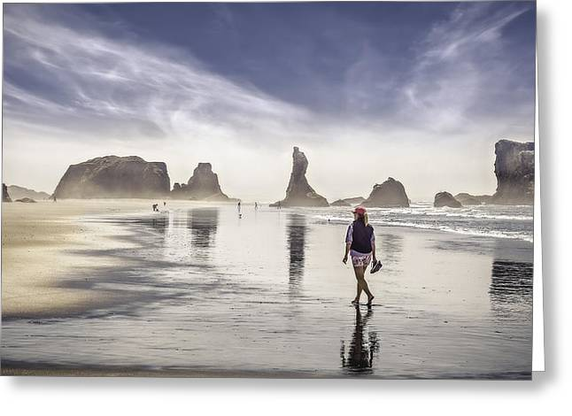 Panoramic Ocean Greeting Cards - Morning walk at the beach Greeting Card by Eduard Moldoveanu