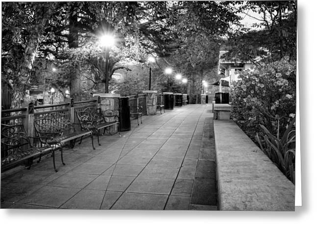 Night Lamp Greeting Cards - Morning Walk In Gatlinburg Tennessee in Black and White Greeting Card by Greg Mimbs