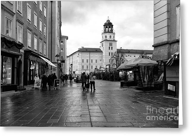 Salzburg Greeting Cards - Morning Walk in the Square Greeting Card by John Rizzuto