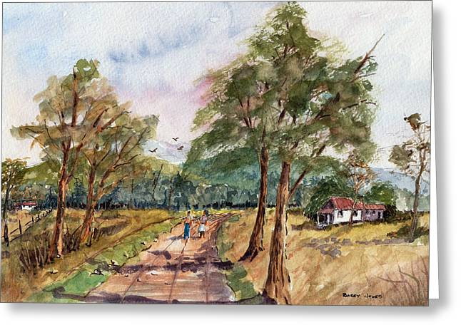 Barry Styles Greeting Cards - Morning Walk - Watercolor Greeting Card by Barry Jones