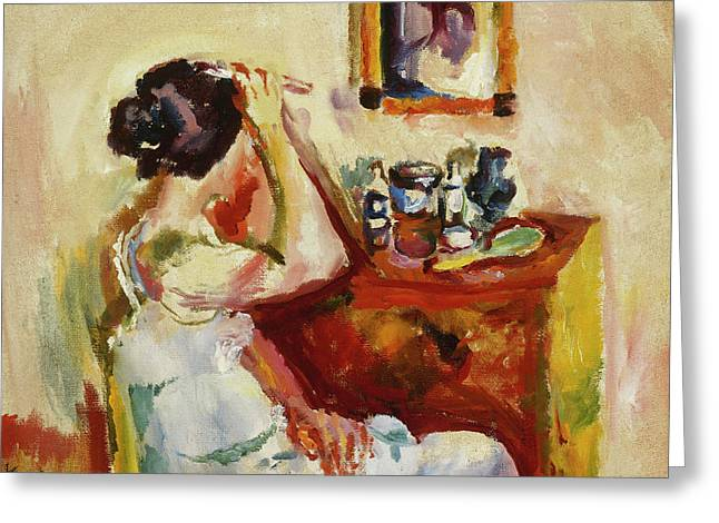 Morning Wash Greeting Card by Ludwig Karsten