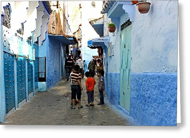 Recently Sold -  - Old Street Greeting Cards - Moroccan Children Greeting Card by Patricia Russell