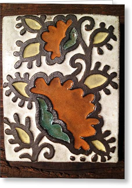 Natural Ceramics Greeting Cards - Moroccan Flower Tile Greeting Card by Evelyn Taylor Designs