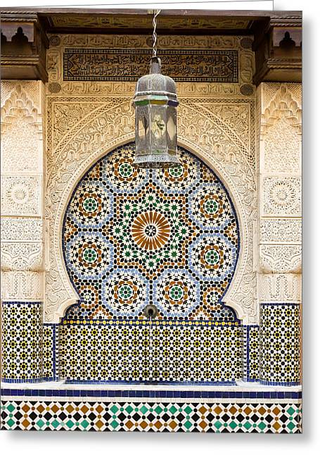 Stucco Greeting Cards - Moroccan fountain Greeting Card by Tom Gowanlock