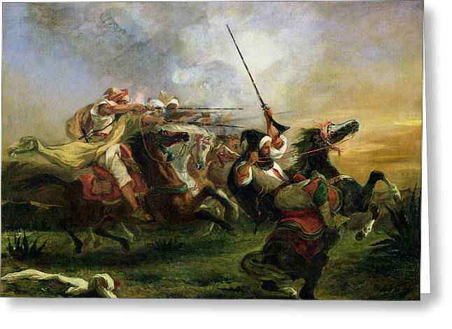 Moroccan horsemen in military action Greeting Card by Ferdinand Victor Eugene Delacroix