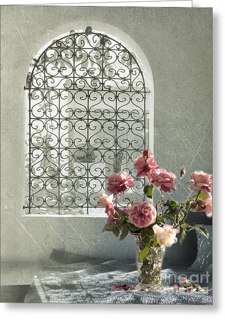 Window Greeting Cards - Moroccan Rose Greeting Card by Linde Townsend