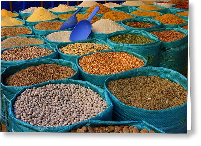 Rabat Greeting Cards - Moroccan Spice Market Greeting Card by Ramona Johnston