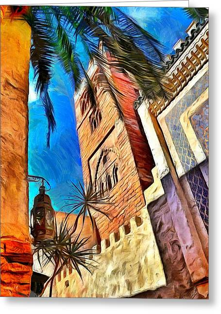 Old Digital Art Greeting Cards - Moroccan Style 3 Greeting Card by Nathalie Duhaime