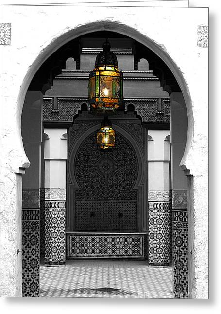 Moroccan Courtyard Greeting Cards - Moroccan Style Doorway Lamps Courtyard and Fountain Color Splash Black and White Greeting Card by Shawn O
