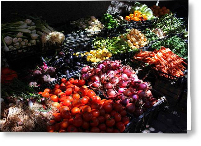 Rabat Greeting Cards - Moroccan Vegetable Market Greeting Card by Ramona Johnston