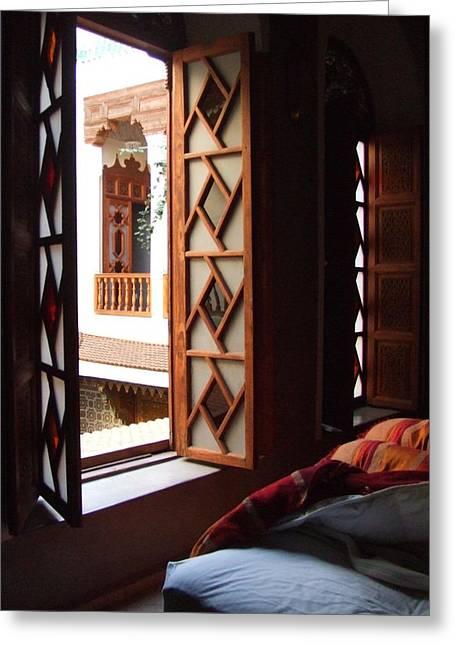 Yvonne Ayoub Greeting Cards - Morocco Marrakesh Dar Al Zahia Greeting Card by Yvonne Ayoub