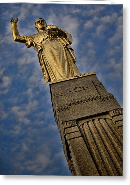Gold Angel Greeting Cards - Moroni - Hill Cumorah Greeting Card by Stephen Stookey