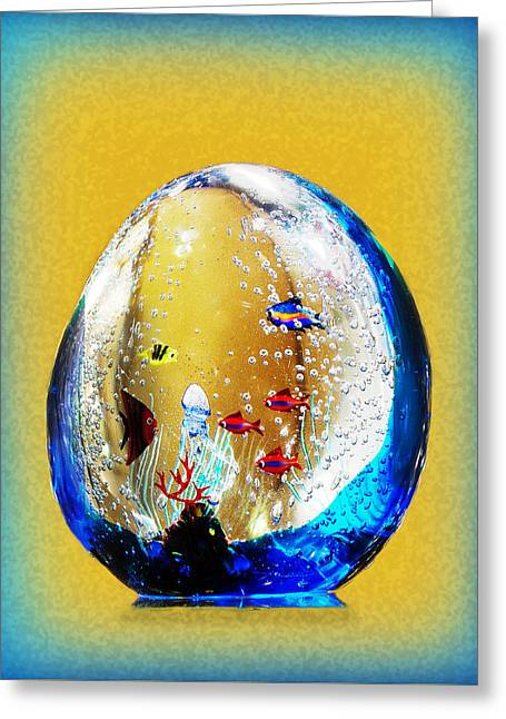 White Photographs Greeting Cards - Murano Glass with Fish Greeting Card by Linda Phelps