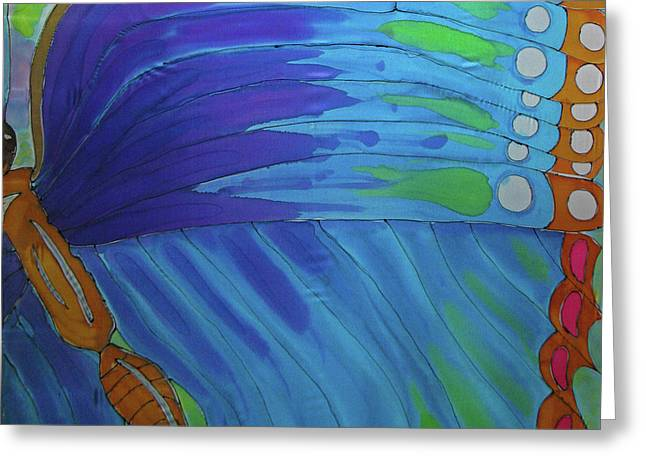 Winged Tapestries - Textiles Greeting Cards - Morpho Wing Study Greeting Card by Kelly     ZumBerge