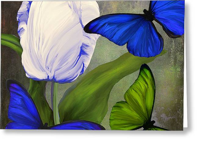 White Tulip Greeting Cards - Morphos II Greeting Card by Mindy Sommers
