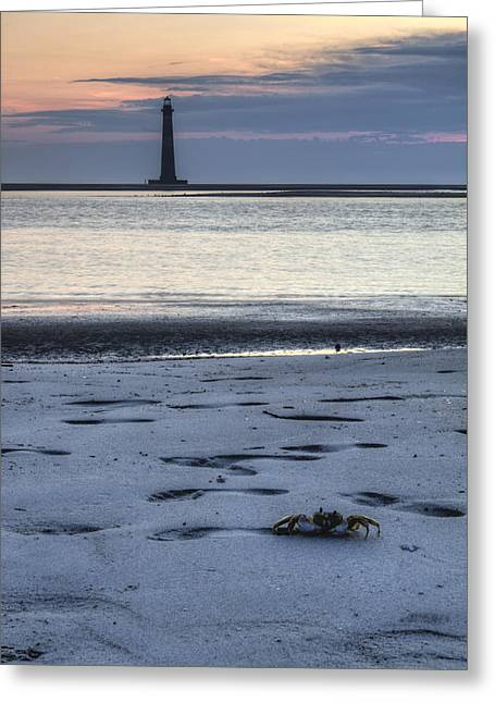 Morris Island Lighthouse And Crab Greeting Card by Dustin K Ryan