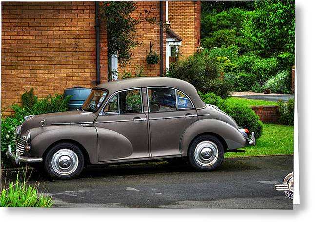Moggy Greeting Cards - Morris Minor Greeting Card by Pennie  McCracken