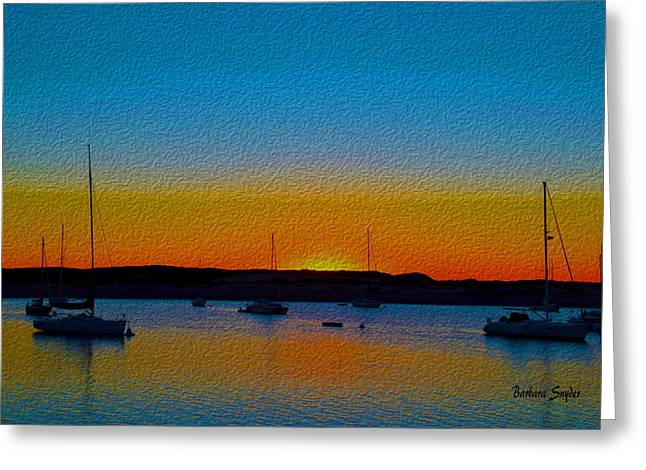 Morro Bay Abstract Sunset  Greeting Card by Barbara Snyder