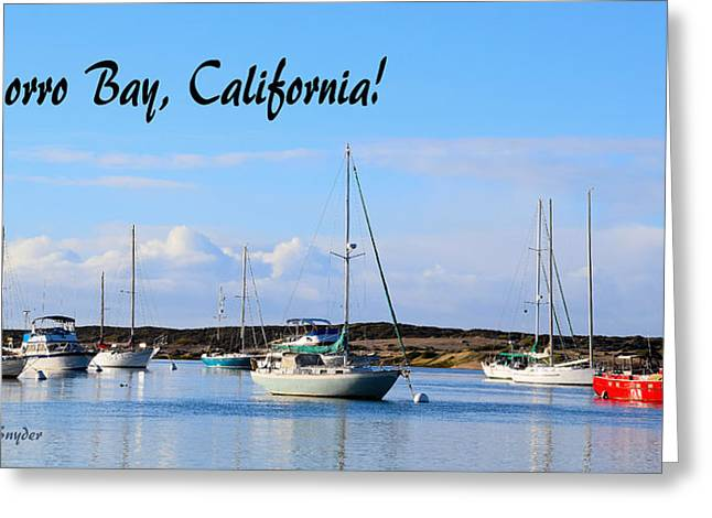 Morro Bay Harbor Big Red Boat Greeting Card by Barbara Snyder