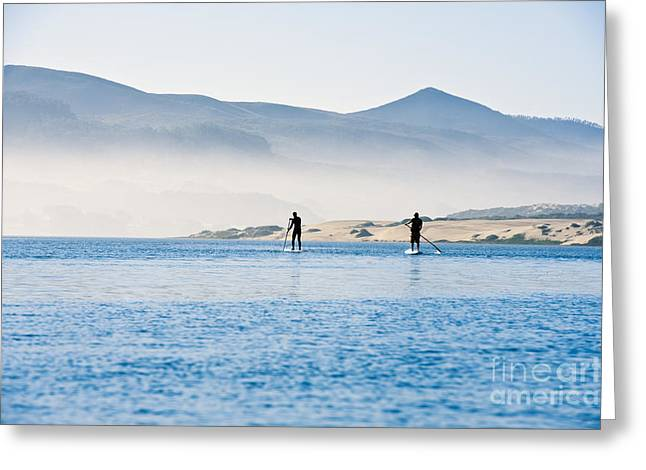 Morro Bay Paddle Boarders Greeting Card by Bill Brennan - Printscapes