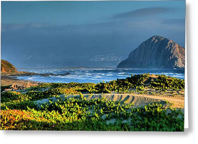 Morro Bay Greeting Cards - Morro Rock and Beach Greeting Card by Steven Ainsworth
