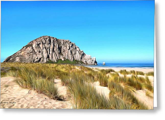 Sand Dunes Paintings Greeting Cards - Morro Rock From The Dunes Greeting Card by Barbara Snyder