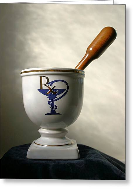 Medication Greeting Cards - Mortar and Pestle Greeting Card by Kristin Elmquist