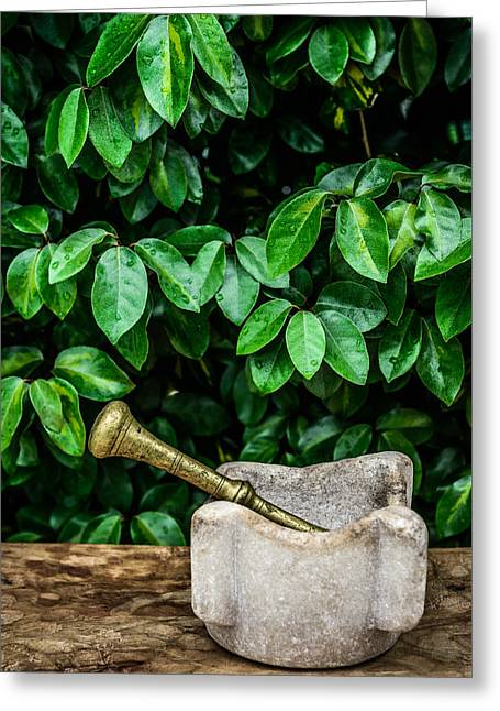 Healthy Greeting Cards - Mortar And Pestle Greeting Card by Marco Oliveira
