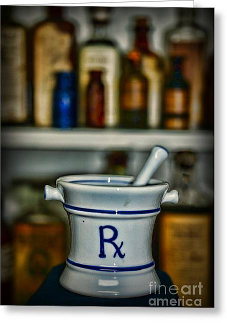Medical Greeting Cards - Mortar and Pestle Pharmacy Icon Greeting Card by Paul Ward