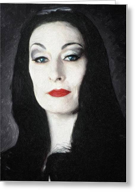 Character Portraits Paintings Greeting Cards - Morticia Addams  Greeting Card by Taylan Soyturk