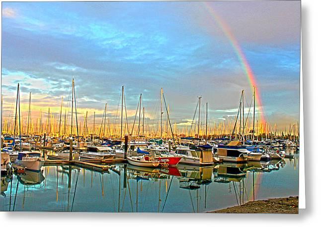 Morton Bay Rainbow Greeting Card by Susan Vineyard