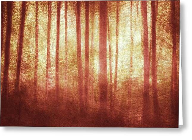 Mortwood Forest In Red Greeting Card by Violet Gray