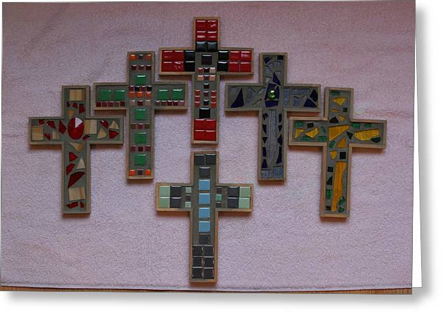 Signed Glass Greeting Cards - Mosaic Crosses  Greeting Card by Diane Morizio
