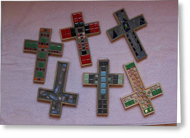 Signed Glass Greeting Cards - Mosaic Crosses I Greeting Card by Diane Morizio