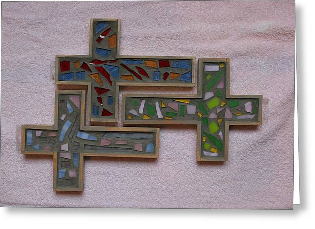Signed Glass Greeting Cards - Mosaic Crosses II Greeting Card by Diane Morizio