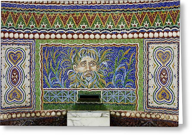 Mosaic Fountain At Getty Villa 3 Greeting Card by Teresa Mucha
