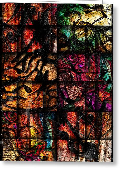Abstract Music Greeting Cards - Mosaic Greeting Card by Gary Bodnar