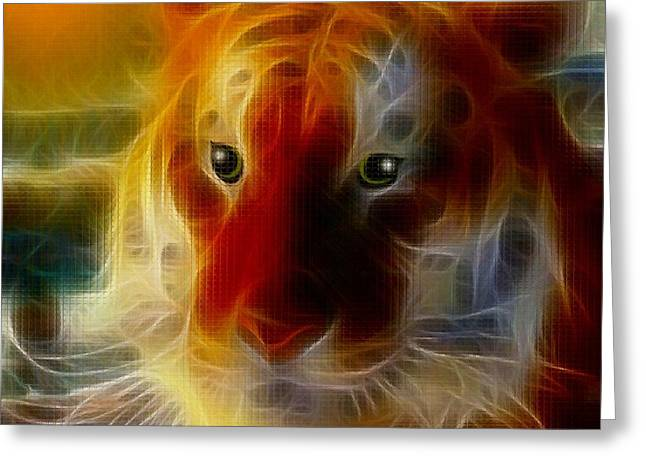 Mosiac Greeting Cards - Mosaic Glass Tiger Greeting Card by Madeline  Allen - SmudgeArt